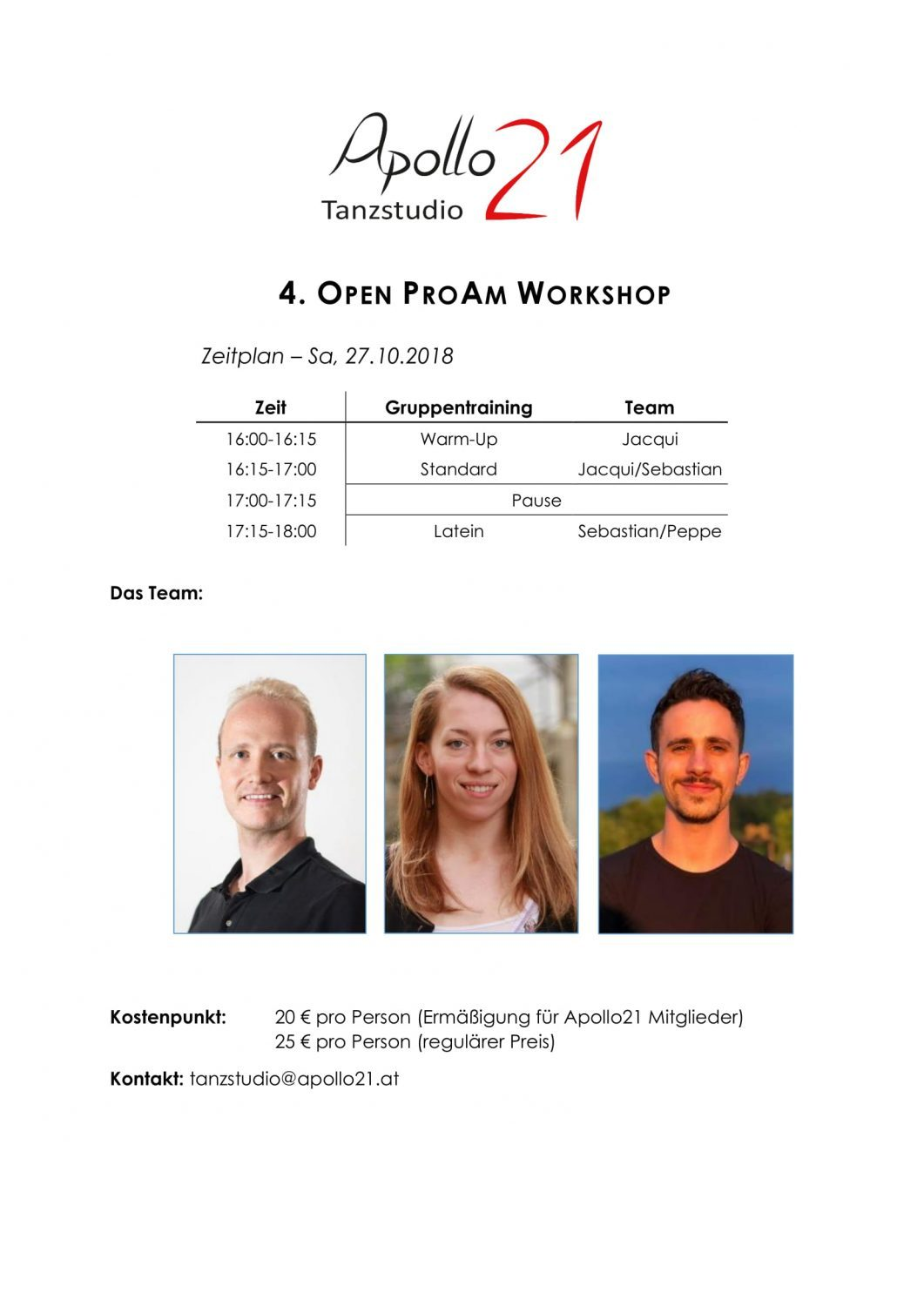 4. Open ProAm Workshop am 27. Oktober !!!