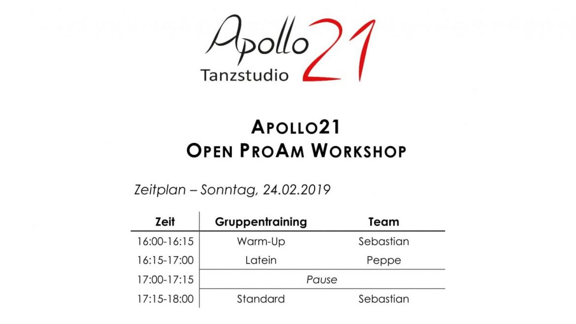 Apollo21 Open ProAm Workshop am 24. Februar 2019