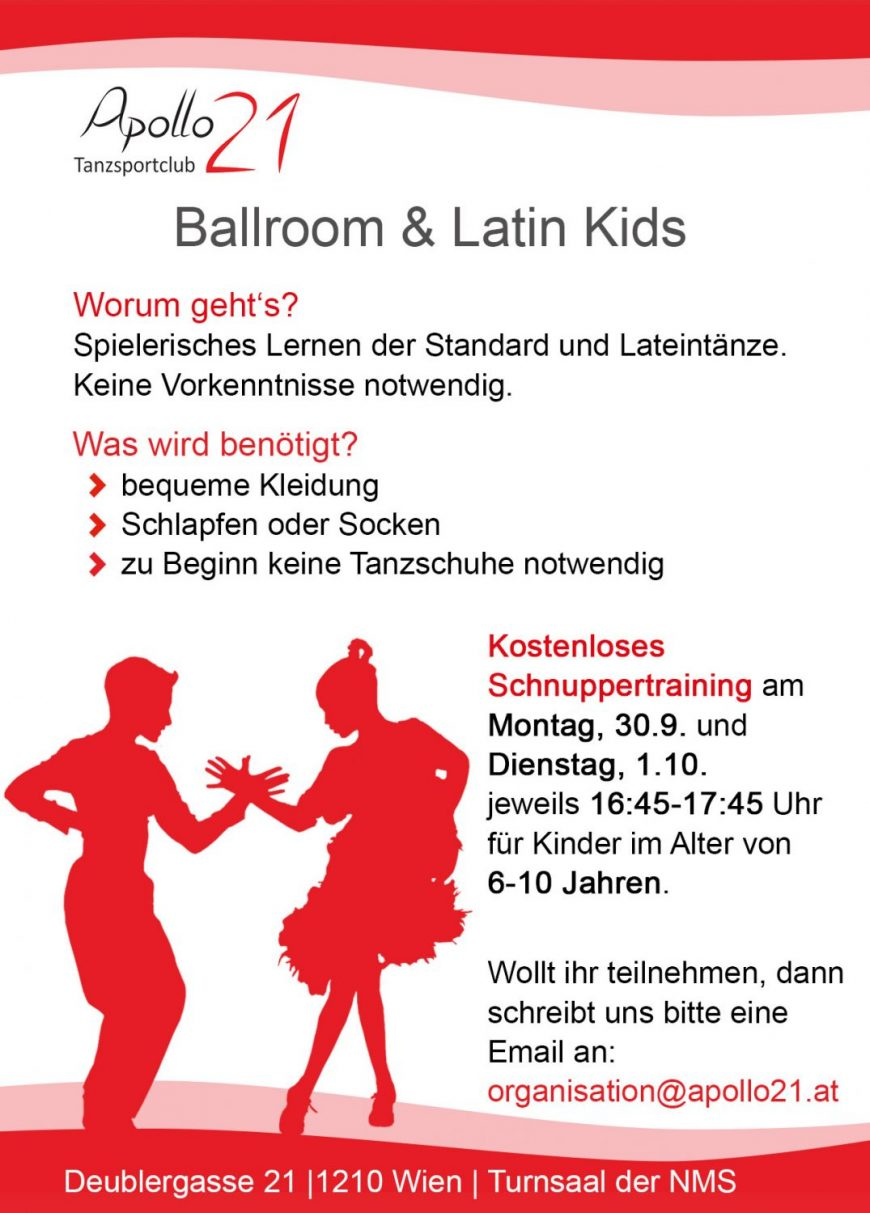 Apollo21 Ballroom & Latin KiDS – Schnuppertrainings